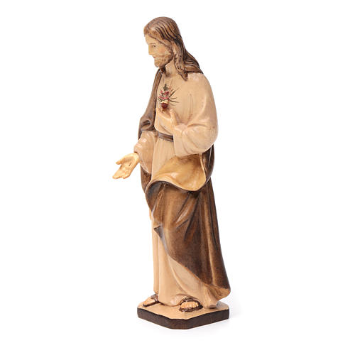 Sacro Cuore di Gesù in legno Val Gardena tonalità marrone 2