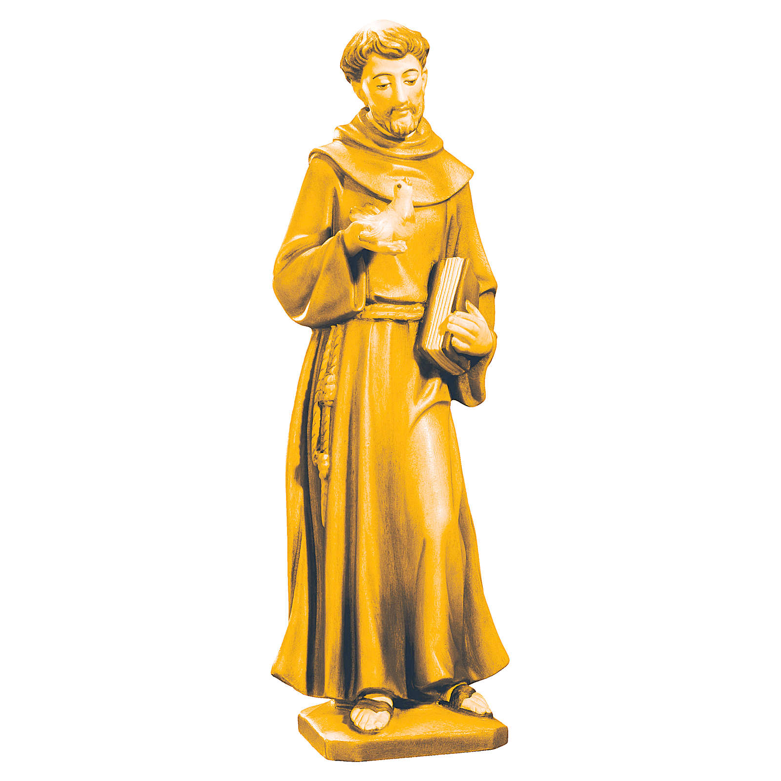 Statua San Francesco legno tonalità diversi marroni 4