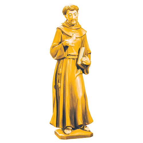 Statue Saint Francis Val Gardena wood, brown shades 1