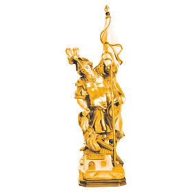 Statue de Saint Florian bois Valgardena nuances brun s1