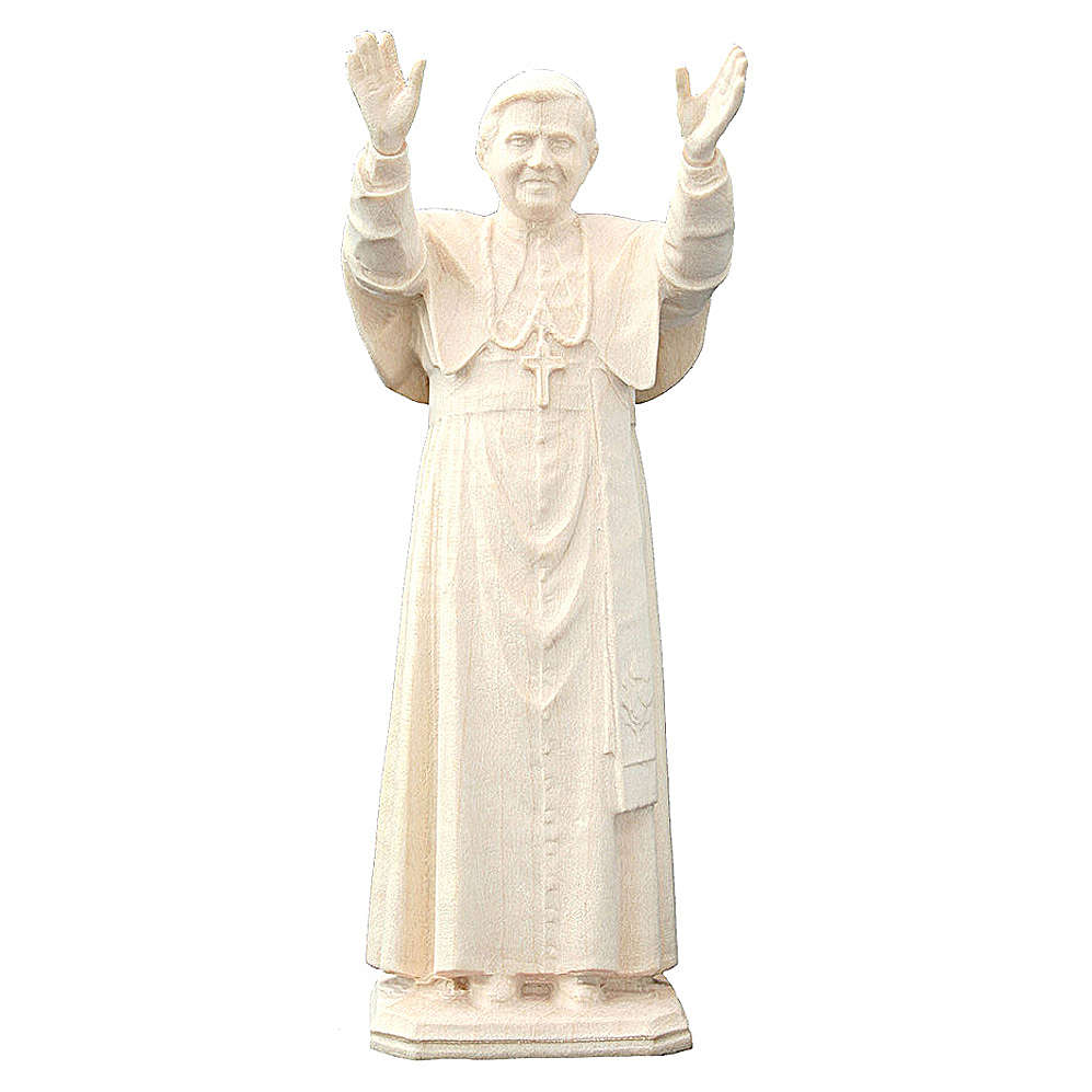 Pape Benoît XVI en bois naturel Valgardena 4
