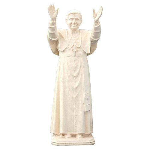 Pape Benoît XVI en bois naturel Valgardena 1