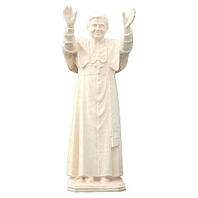 Papa Benedetto XVI in legno naturale della Val Gardena s1