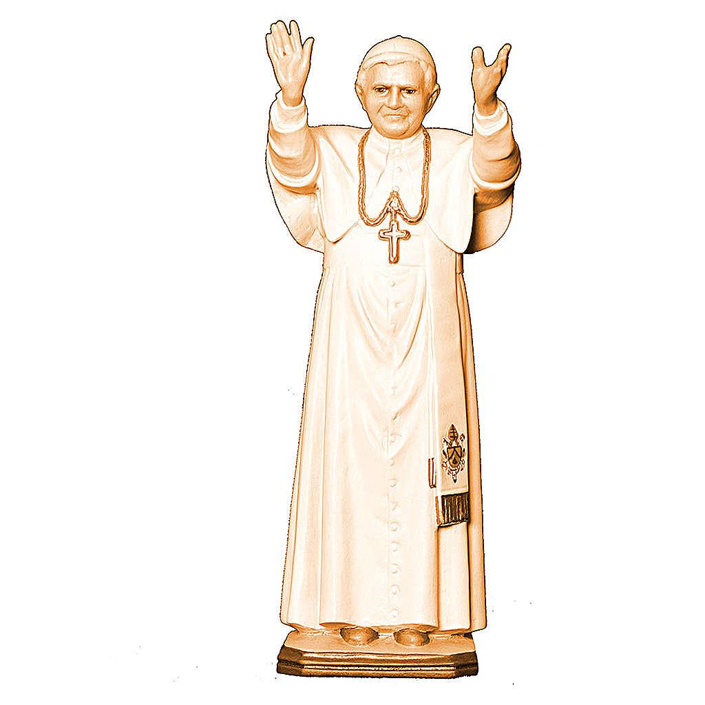 Papa Benedetto XVI diverse tonalità marroni legno Val Gardena 4