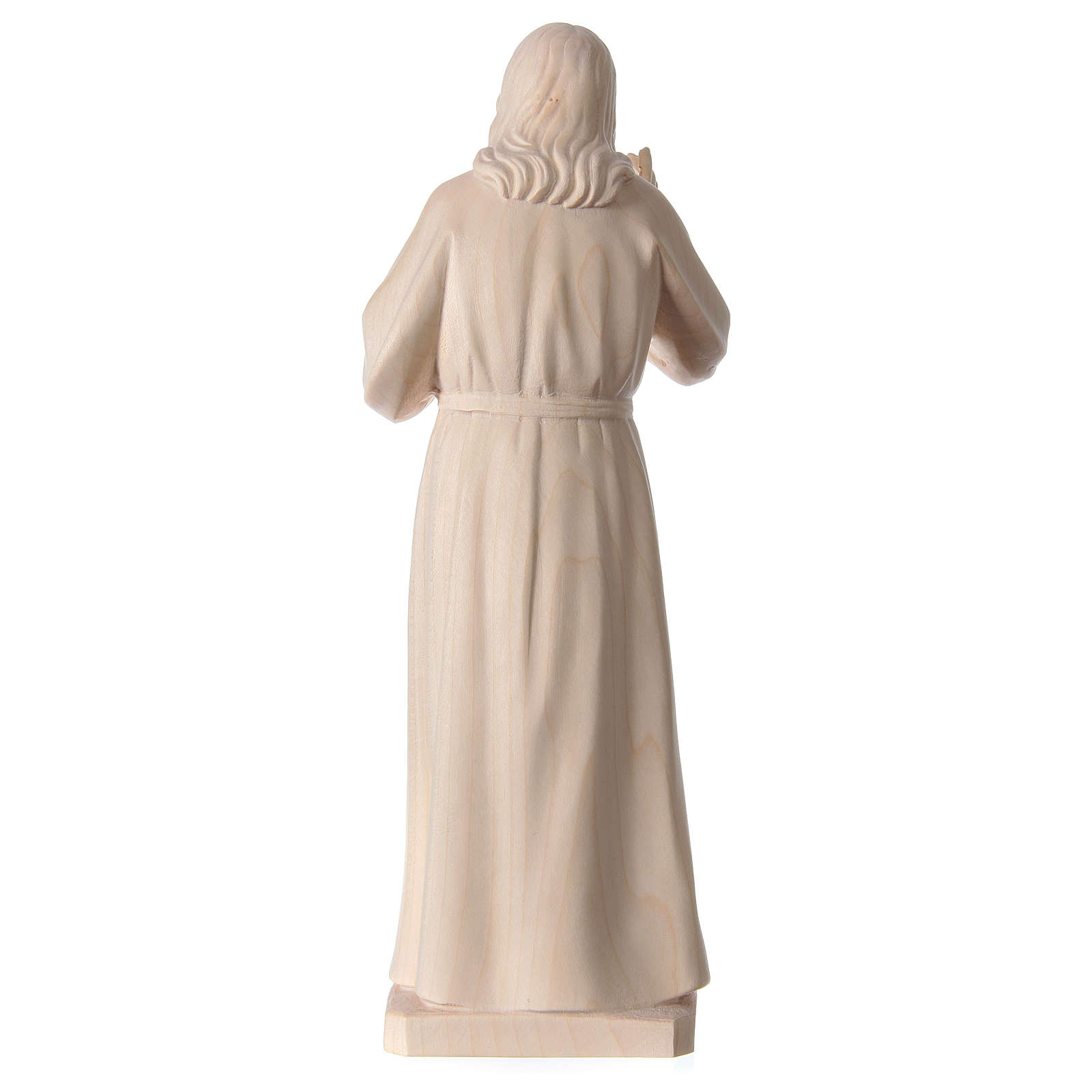 Statue natural wood Val Gardena Sacred Heart of Jesus 4