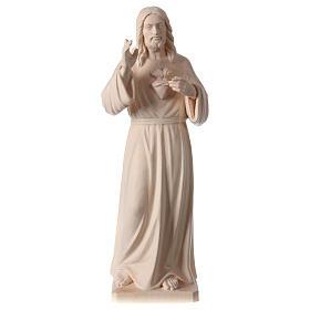 Statue natural wood Val Gardena Sacred Heart of Jesus s1