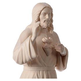 Statue natural wood Val Gardena Sacred Heart of Jesus s2
