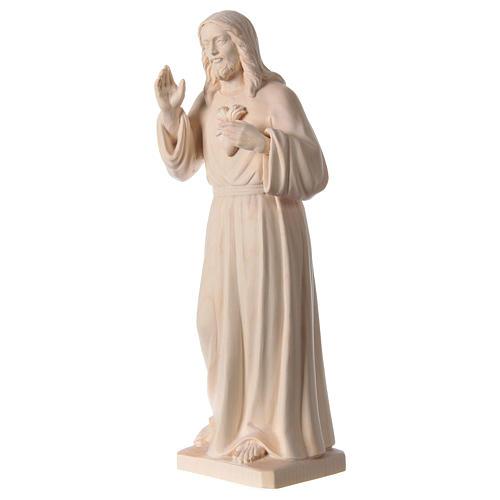 Statue natural wood Val Gardena Sacred Heart of Jesus 3