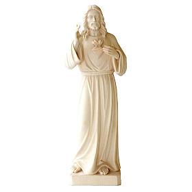 Statua in legno naturale Val Gardena Sacro Cuore di Gesù s1