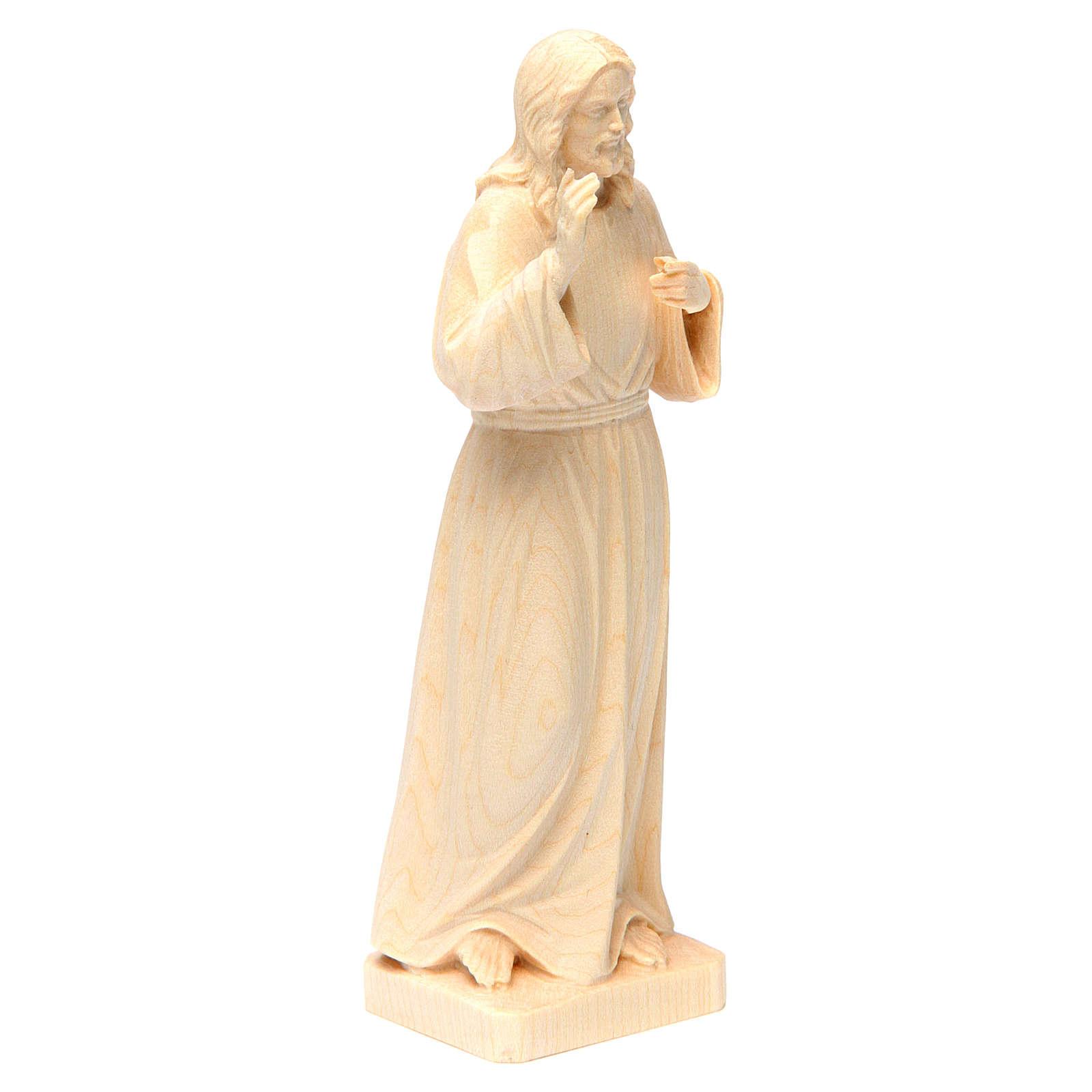 Statua Gesù Benedicente legno naturale della Val Gardena 4