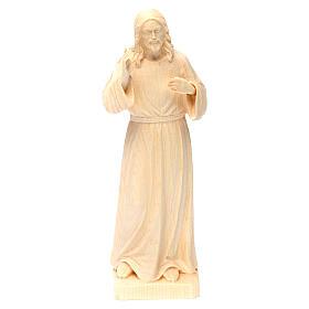 Statua Gesù Benedicente legno naturale della Val Gardena s1