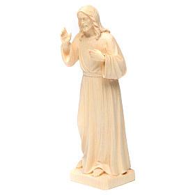 Statua Gesù Benedicente legno naturale della Val Gardena s2