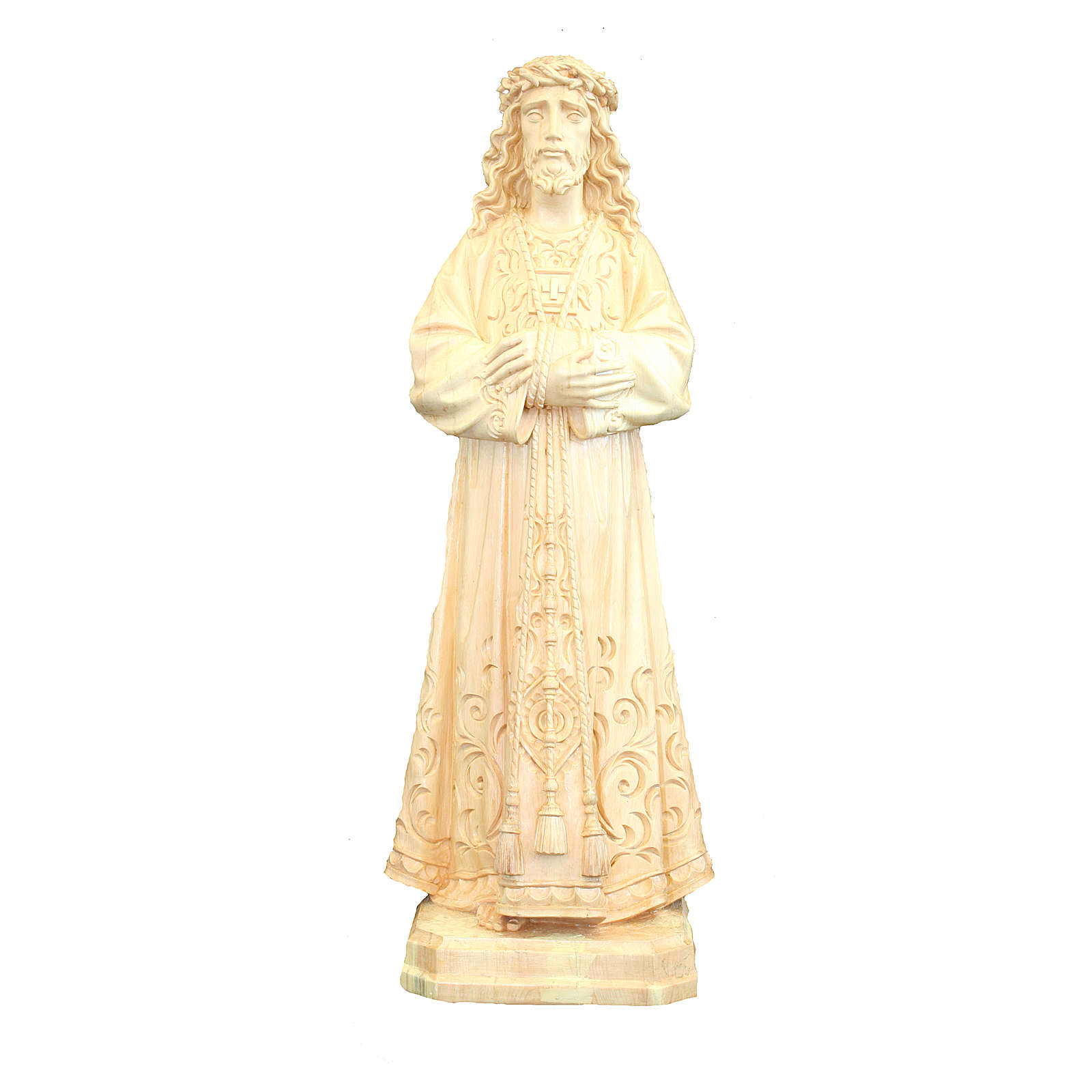 Statue of Jesus natural wood Val Gardena with decorations 4