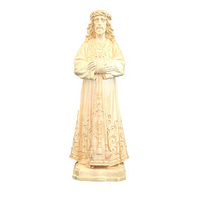 Statue of Jesus natural wood Val Gardena with decorations s1