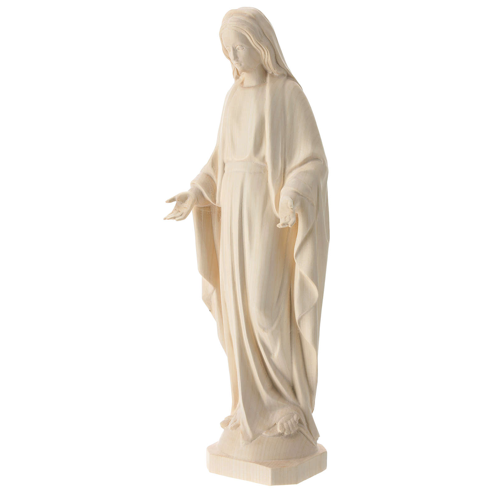 Estatua Virgen Inmaculada de madera natural de la Val Gardena 4