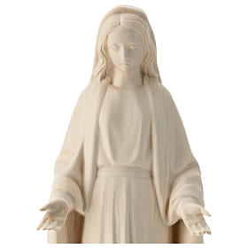 Immaculate Mary statue in natural Val Gardena wood s2