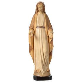 Imágenes de madera natural: Virgen de la Inmaculada Concepción de madera de la Val Gardena, acabado con diferentes matices de marrón