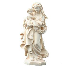 Statua Madonna Reverenza legno Valgardena naturale s1