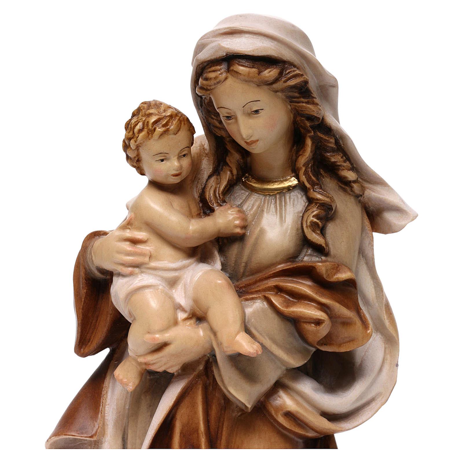 Statua Madonna Reverenza legno Valgardena diverse tonalità marrone 4