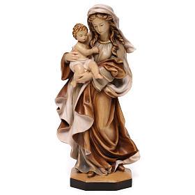 Statua Madonna Reverenza legno Valgardena diverse tonalità marrone s1