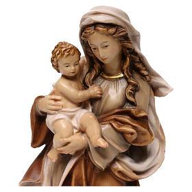 Statua Madonna Reverenza legno Valgardena diverse tonalità marrone s2