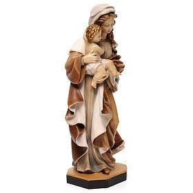 Statua Madonna Reverenza legno Valgardena diverse tonalità marrone s4