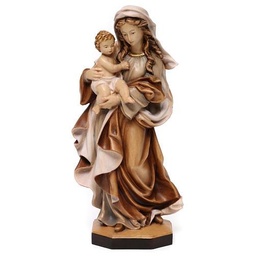 Statua Madonna Reverenza legno Valgardena diverse tonalità marrone 1