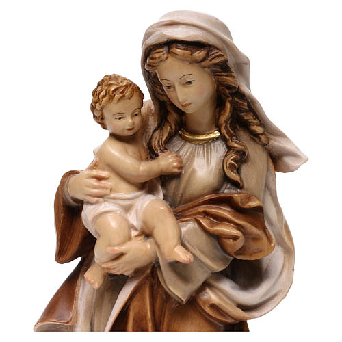 Statua Madonna Reverenza legno Valgardena diverse tonalità marrone 2