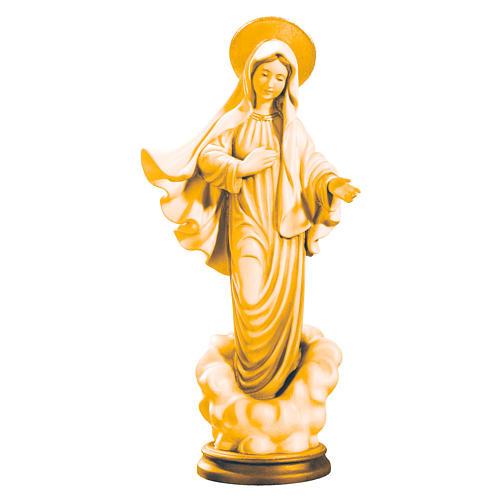 Estatua de la Virgen de Medjugorje de madera de la Val Gardena, acabado con diferentes matices de marrón 1