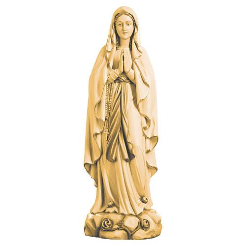 Estatua Virgen de Lourdes de madera de la Val Gardena, acabado con diferentes matices de marrón 1