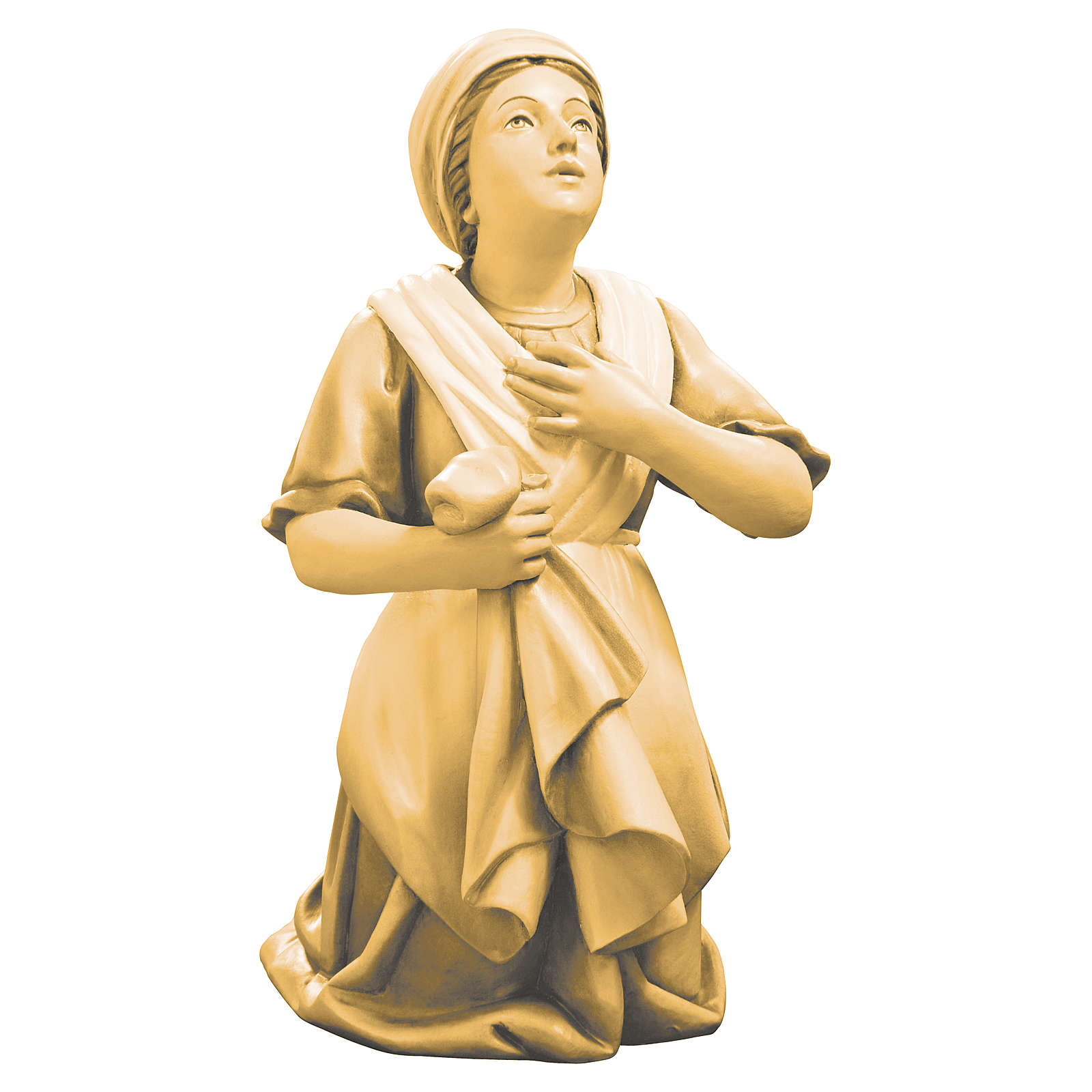 Saint Bernadette statue in maple wood, shades of brown 4