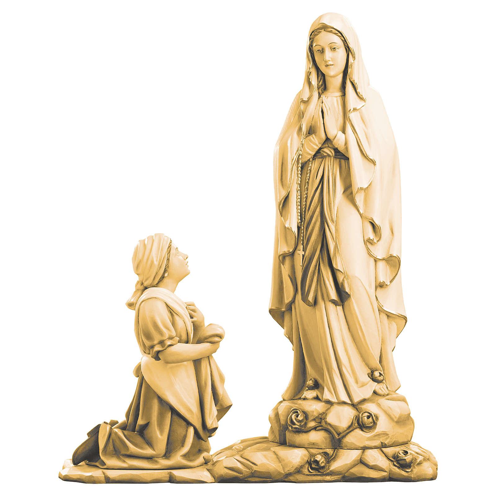 Saint Bernadette statue in maple wood, shades of brown 4