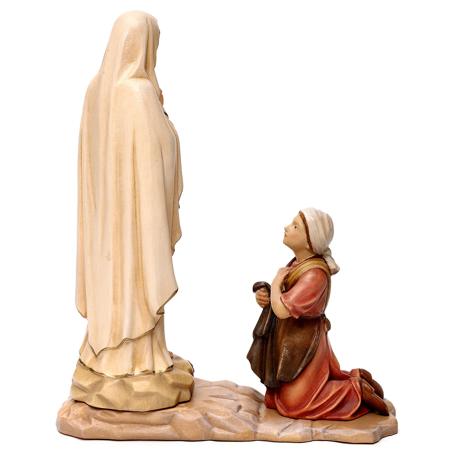 Our Lady of Lourdes and Bernadette wooden statue in shades of brown Val Gardena 4