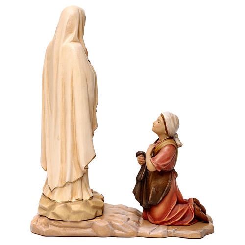 Our Lady of Lourdes and Bernadette wooden statue in shades of brown Val Gardena 6
