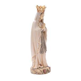 Statua Madonna Lourdes con corona legno Valgardena diverse tonalità marrone s3
