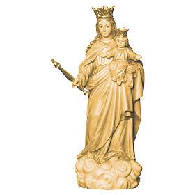 Imágenes de madera natural: Estatua María Auxiliadora de madera de la Val Gardena, acabado con diferentes matices de marrón