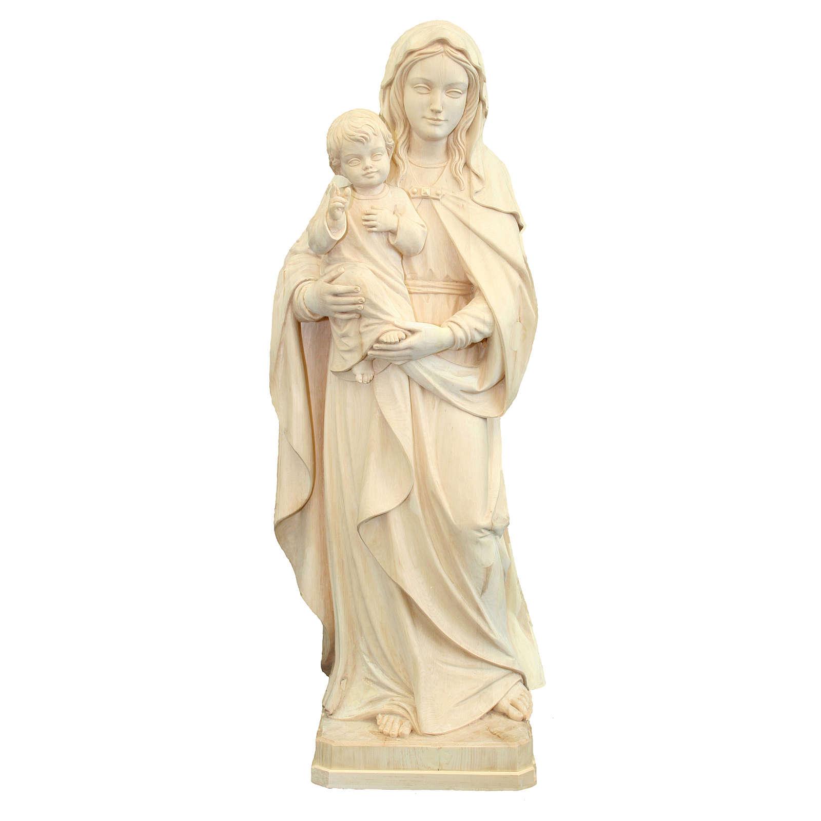 Imagen Virgen con el Niño Jesús de madera natural de la Val Gardena 4