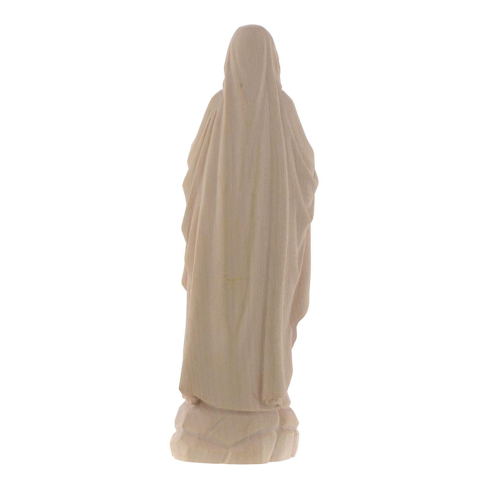 Imagen Virgen de Lourdes de madera natural de la Val Gardena 4