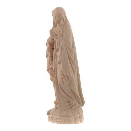 Imagen Virgen de Lourdes de madera natural de la Val Gardena 2