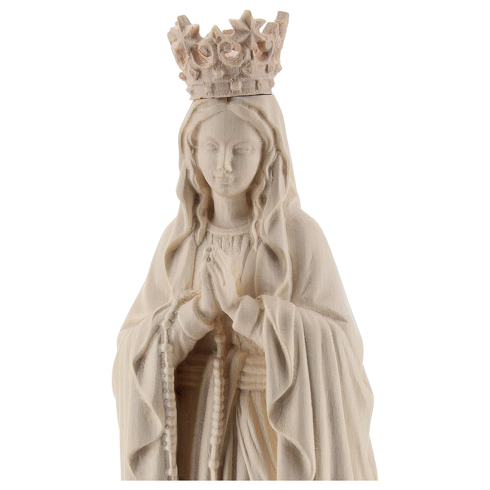 Our Lady of Lourdes with crown in natural Valgardena wood 4