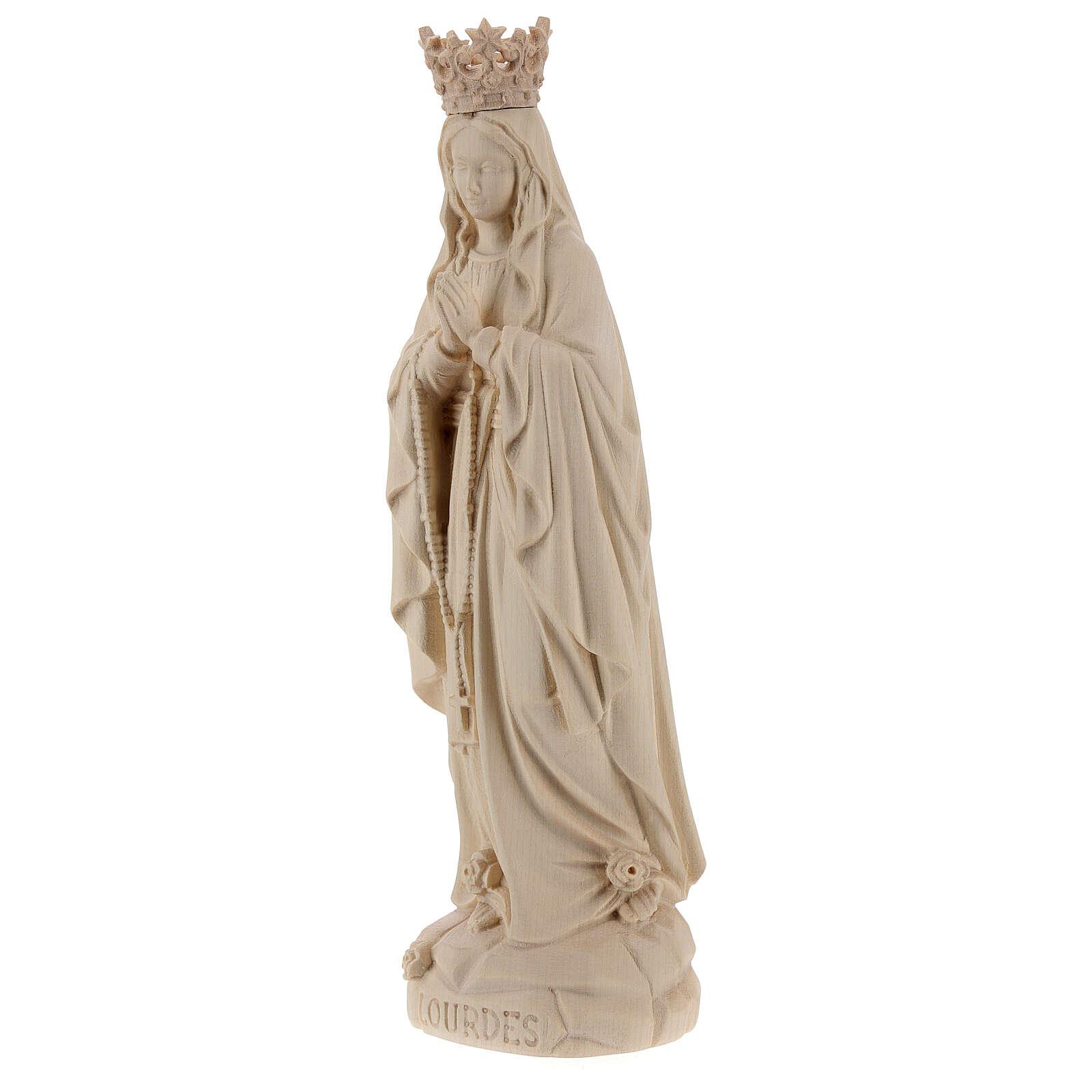 Imagen Virgen de Lourdes corona y Bernadette Valgardena acabado natural 4
