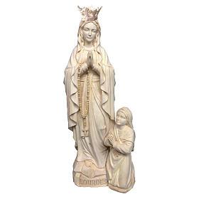 Imagen Virgen de Lourdes corona y Bernadette Valgardena acabado natural s1