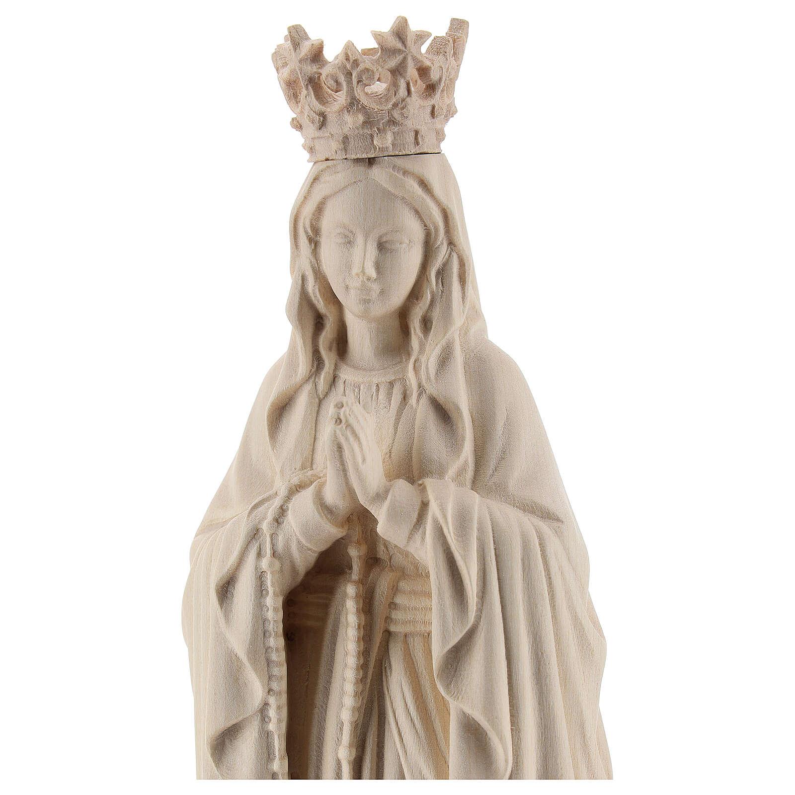 Statua Madonna Lourdes corona Valgardena naturale 4