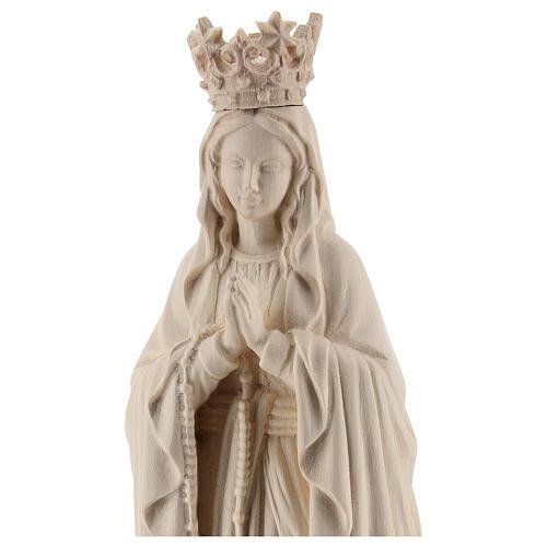 Statua Madonna Lourdes corona Valgardena naturale 2