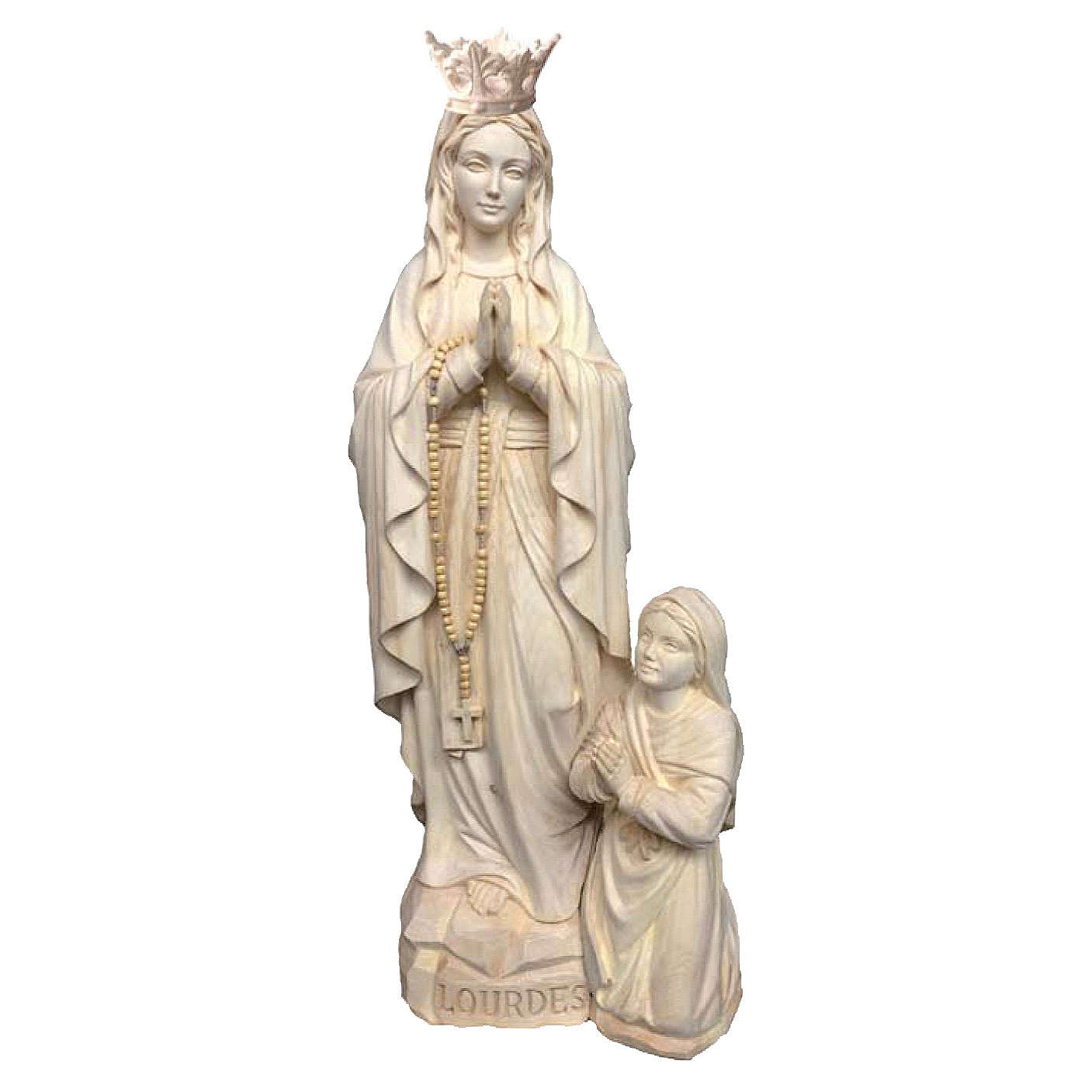 Our Lady of Lourdes and Bernadette with crown in natural Valgardena wood 4