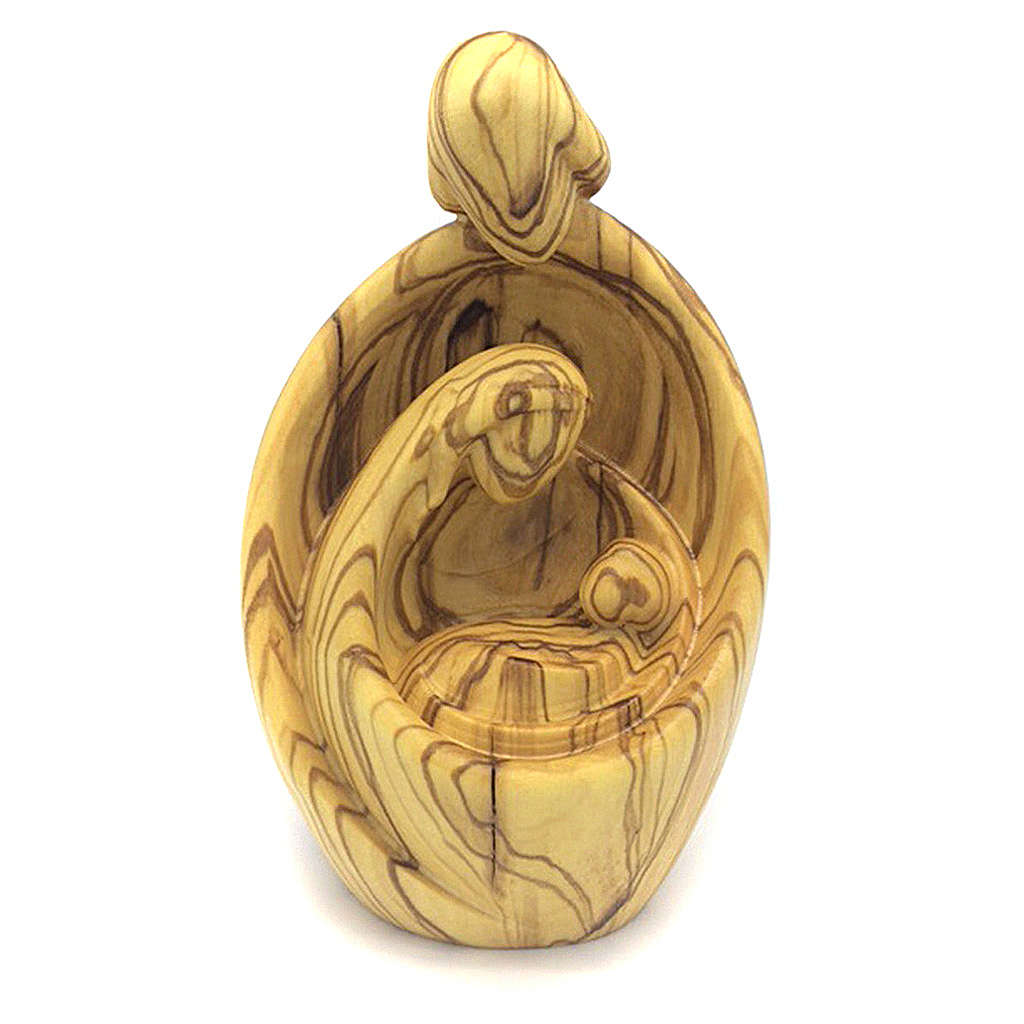 Sacra Famiglia moderna in legno di ulivo al naturale 4