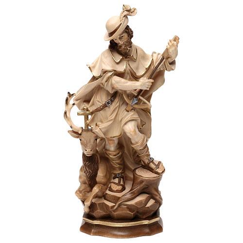Saint Humbert in wood burnished in 3 colours Valgardena 5