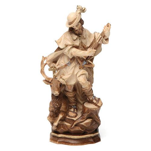 Saint Humbert in wood burnished in 3 colours Valgardena 1