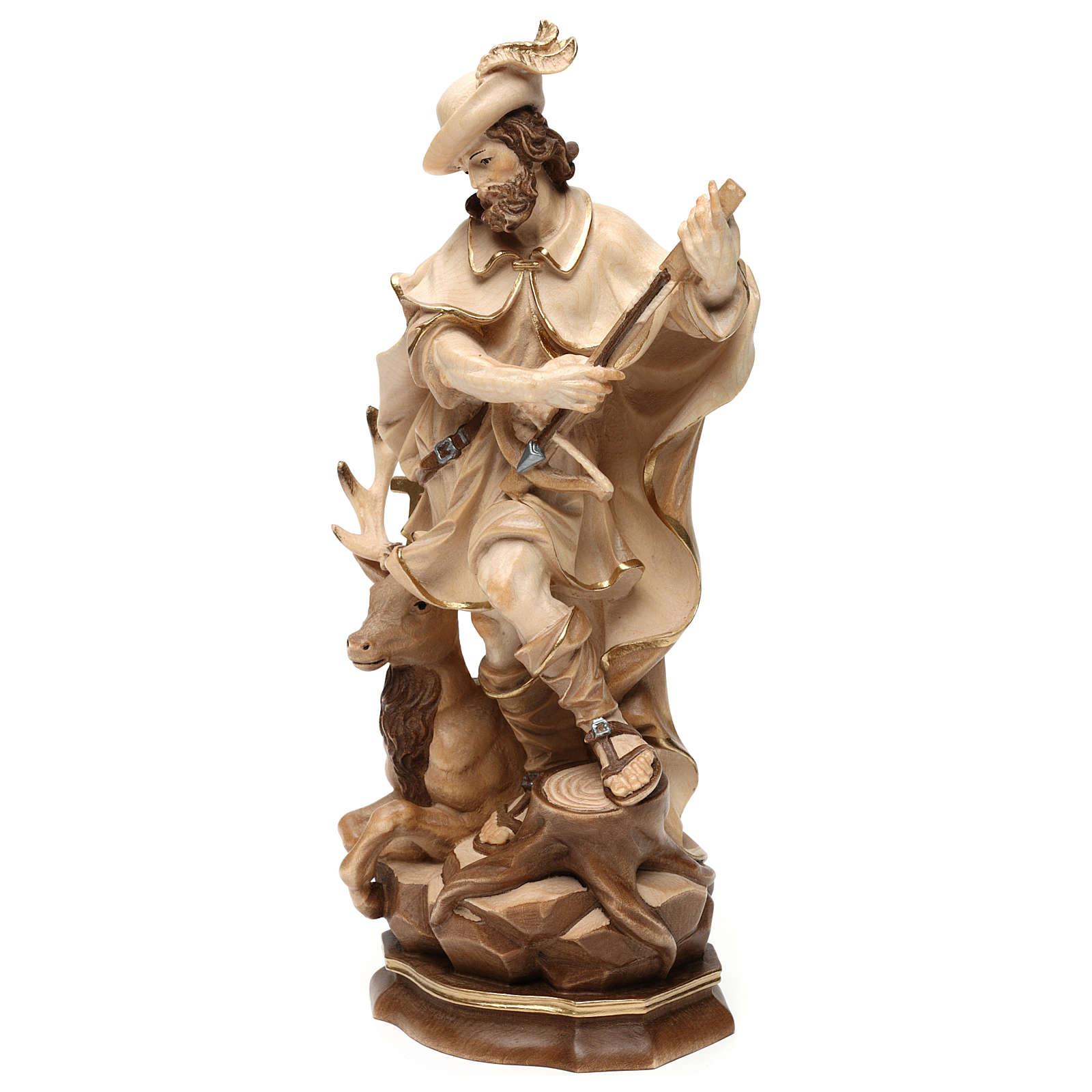 Saint Humbert in wood burnished in 3 colours Valgardena 4