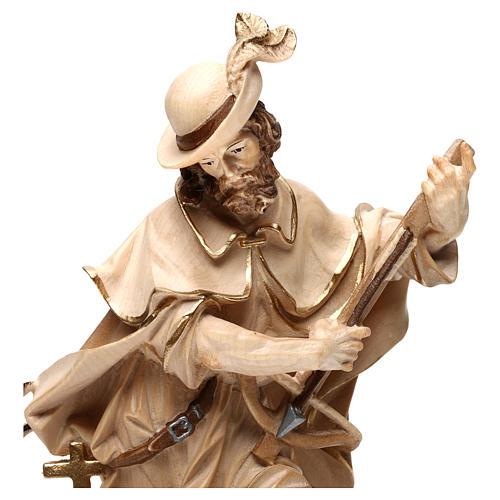 Saint Humbert in wood burnished in 3 colours Valgardena 6